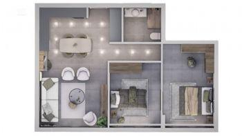 Schnitt einer Wohnung mit 2 Schlafzimmern