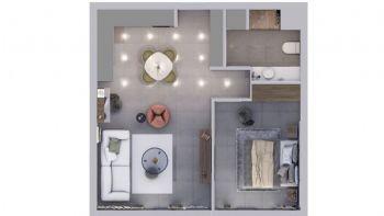 Schnitt einer Wohnung mit einem Schlafzimmer