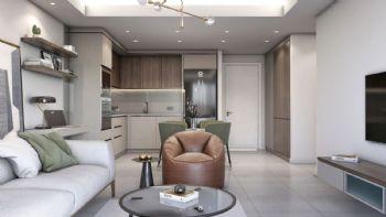 Einrichtungsbeispiel einer Wohnung mit einem Schlafzimmer